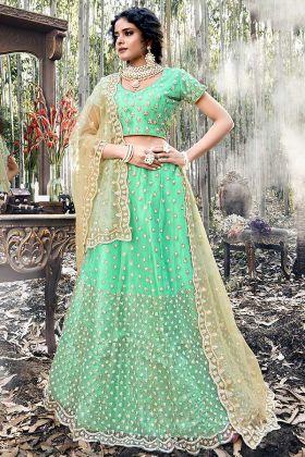 Wedding Wear Net Bridal Lehenga Designs Green Color