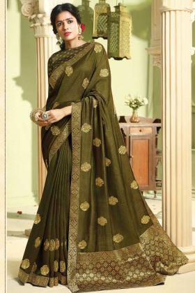 Wedding Wear Olive Green Art Silk Saree