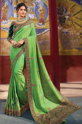 Wedding Wear Parrot Green Color Raw Silk Saree