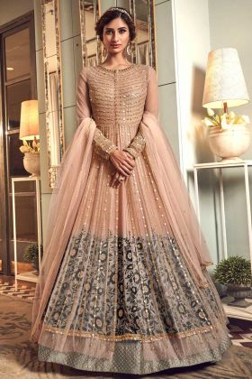 Wedding Wear Peach Jacket And Gown Premium Net Indo Western Suit
