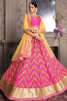Wedding Wear Rani Pink Art Silk Latest Lehenga Choli