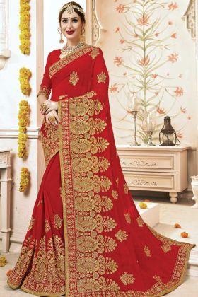Wedding Wear Red Georgette Saree