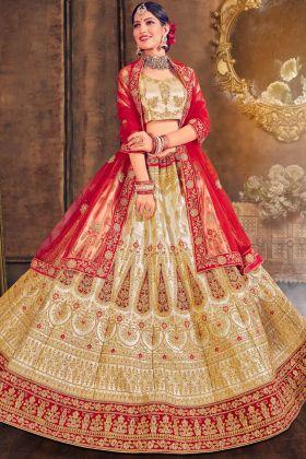Wedding Wear Satin Silk Gold Color Lehenga Choli