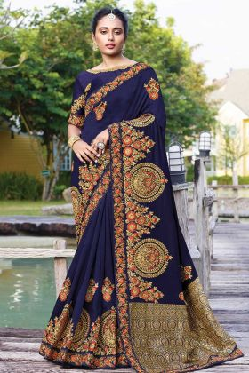 Wedding Wear Satin Silk Saree In Navy Blue