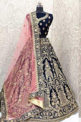 Wedding Wear Velvet Baby Pink Bridal Lehenga Choli