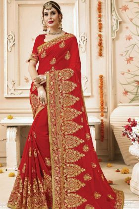 Wedding Wear Zari Saree Georgette In Red