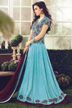 Wedding And Festive Season With Cotton Blue Anarkali Dress