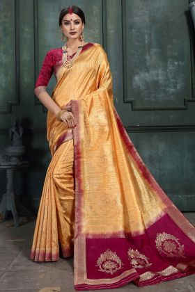 Wedding Art Silk Golden Saree