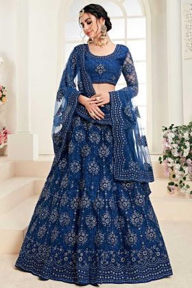 Wedding Bridal Royal Blue Lehenga In Embroidered Net With Satin Silk Fabric