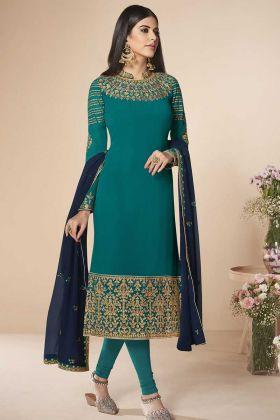Wedding Georgette Designer Straight Suit Blue Color