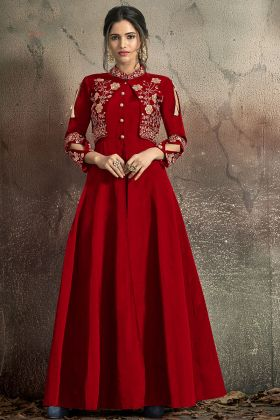 Wedding Gown In Embroidered Work Red Color