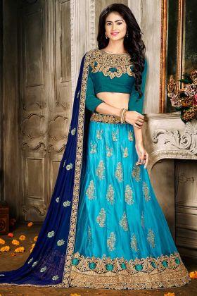 Wedding Jacquard Net Blue Lehenga Choli With Teal Blue Choli