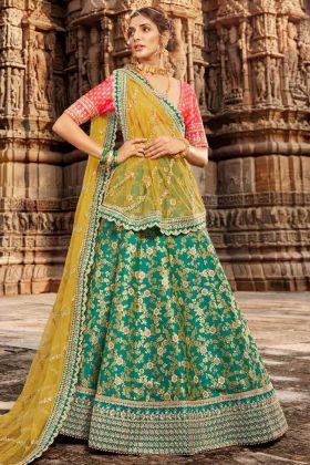 Wedding Lehenga Blouse Designs Jacquard Turquoise Color