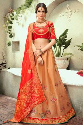 Wedding Lehenga Choli Embroidery Beige Color With Silk Jacquard Fabric