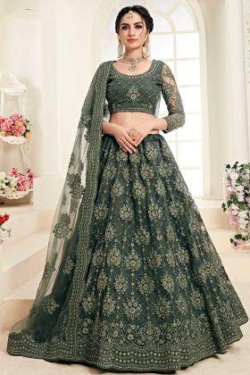 Wedding Lehenga Mahendi Green Net With Silk Satin 2 Layer
