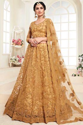Wedding Lehenga Net With Silk Satin 2 Layer Mustard Yellow