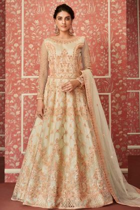Wedding Net Anarkali Salwar Suit Resham Embroidery Work In Cream Color