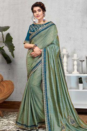 Wedding New Saree Design Blue Color Weaved Silk