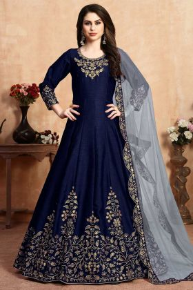 Wedding Salwar Suit Art Silk Navy Blue Color With Net Dupatta