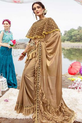 Wedding Saree Lycra Beige Color With Blouse On Net Cape