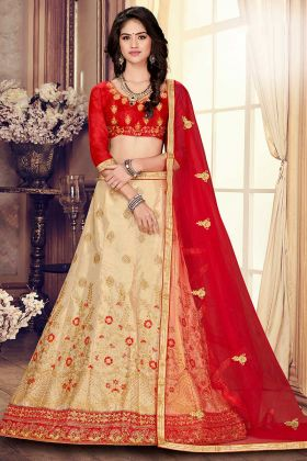 Wedding Season Cream Color Designer Wedding Satin Silk Lehenga