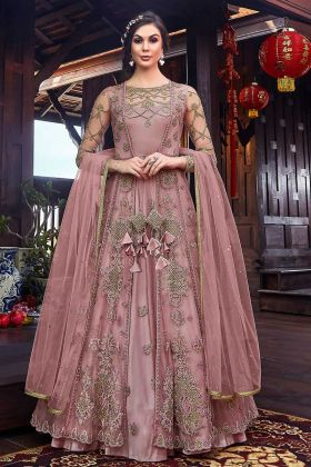 Wedding Season In Net Fabric Indo Western Dress Onion Pink Color
