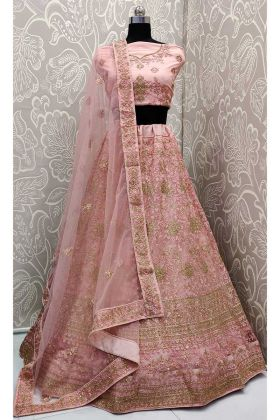Wedding Season Net Heavy Designer Lehenga Choli Pink Color