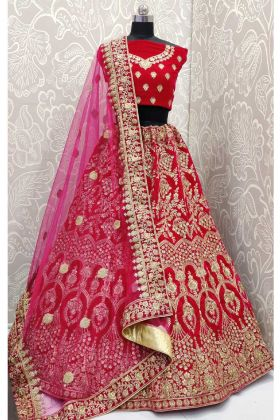 Wedding Season Special Rani Pink Velvet Bridal Lehenga Choli