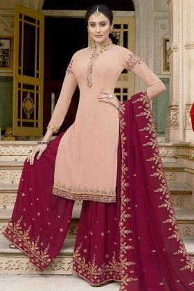 Wedding Season Wearing Heavy Designer Palazzo Suit Peach Color