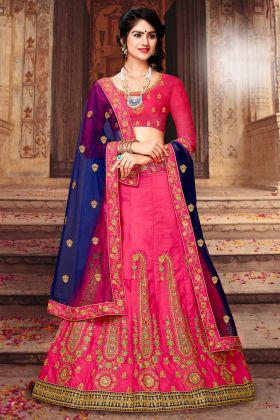 Wedding Special Art Silk Straight Cut Embroidery Lehenga Choli In Pink Color