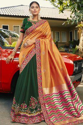 Wedding Special Orange And Green Half n Half Saree