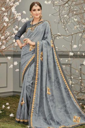 Wedding Special Silky Designer Saree Grey Color
