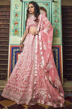 Wedding Special Soft Net Zari Work Peach Party wear Lehenga