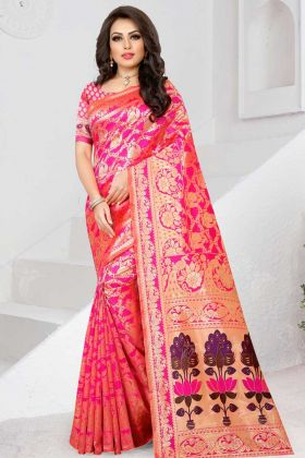Wedding Two Tone Soft Silk Saree Rani Pink Color