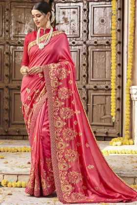 Wedding Wear Old Rose Pink Satin Silk Saree Design