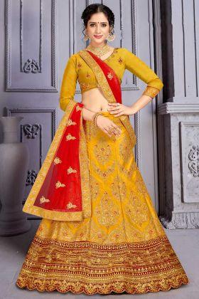 Wedding Wearing Heavy Designer Lehenga Choli In Musturd Yellow