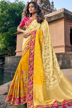 Wedding Yellow Color Silk Jacquard Banarasi Saree