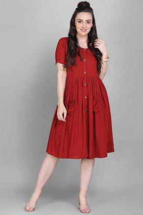 Weekend Wear Red Color Rayon Digital Printed Kurti