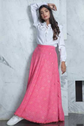 Western Wear White Cotton Top With Rayon Pink Skirt