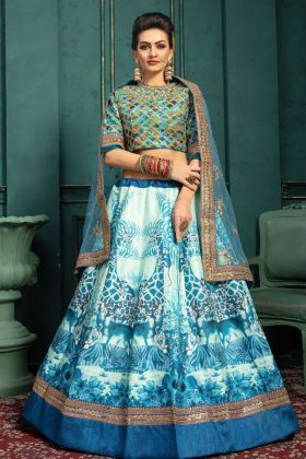 White and Sky Blue Malbari Silk Designer Lehenga Choli