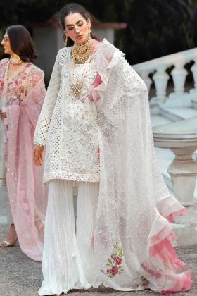 White Cambric Cotton Embroidery Pakistani Suit