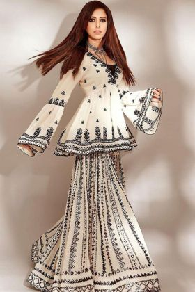 White Chain Stitch Work Bollywood Actress Nushrratt Bharuccha Salwar Suit