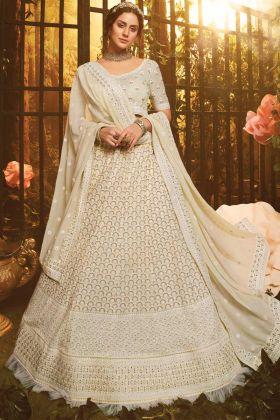 White Color Bridal Wear Georgette Lehenga Choli