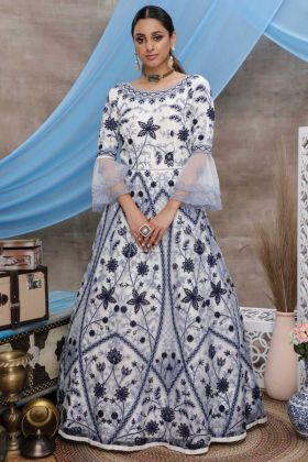 White Color Designer Party Wear Anarkali Style Gown