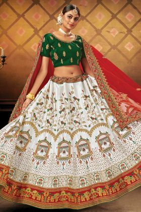 White Color Indian Trendy Bridal Lehenga Choli In Malai Satin Fabric
