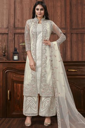 White Color Net Coding And Stone Work Designer Suit