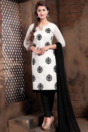 White Color Office Wear Modal Silk Straight Suit