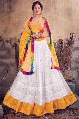 White Color Pearl Work Designer Net Lehenga Choli