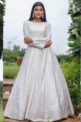White Color Pure Cotton Fancy Anarkali Suit For Wedding
