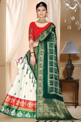 White Color Satin Silk Lehenga With Bandhani Silk Dupatta